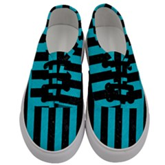 Stripes1 Black Marble & Turquoise Colored Pencil Men s Classic Low Top Sneakers
