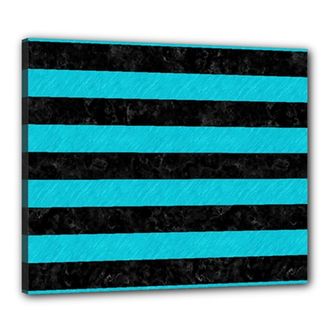Stripes2 Black Marble & Turquoise Colored Pencil Canvas 24  X 20  by trendistuff