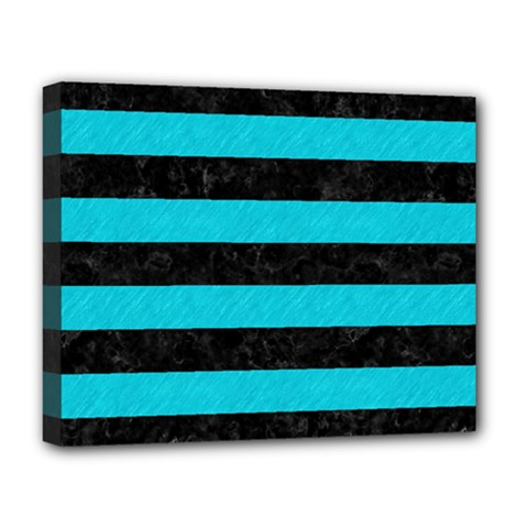 Stripes2 Black Marble & Turquoise Colored Pencil Deluxe Canvas 20  X 16   by trendistuff