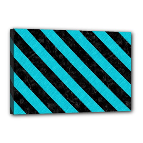 Stripes3 Black Marble & Turquoise Colored Pencil Canvas 18  X 12  by trendistuff
