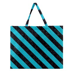 Stripes3 Black Marble & Turquoise Colored Pencil Zipper Large Tote Bag by trendistuff