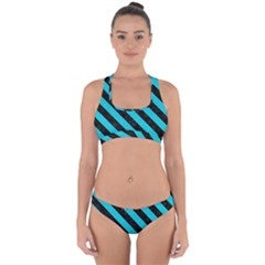 Stripes3 Black Marble & Turquoise Colored Pencil Cross Back Hipster Bikini Set by trendistuff