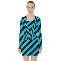 Stripes3 Black Marble & Turquoise Colored Pencil (r) V Neck Bodycon Long Sleeve Dress