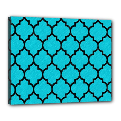 Tile1 Black Marble & Turquoise Colored Pencil Canvas 20  X 16  by trendistuff