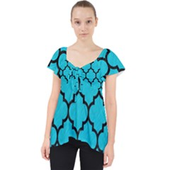 Tile1 Black Marble & Turquoise Colored Pencil Lace Front Dolly Top