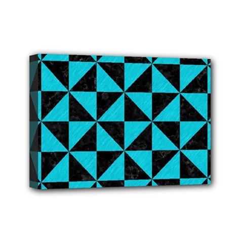 Triangle1 Black Marble & Turquoise Colored Pencil Mini Canvas 7  X 5  by trendistuff