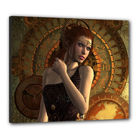 Wonderful Steampunk Women With Clocks And Gears Canvas 24  X 20  by FantasyWorld7
