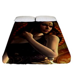 Wonderful Steampunk Women With Clocks And Gears Fitted Sheet (king Size)