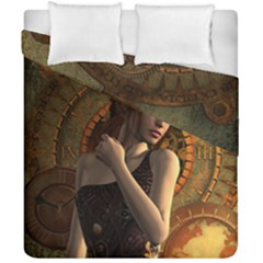 Wonderful Steampunk Women With Clocks And Gears Duvet Cover Double Side (california King Size) by FantasyWorld7