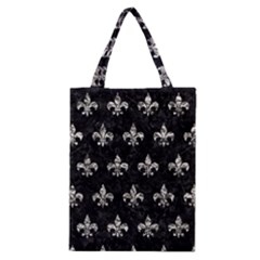Royal1 Black Marble & Silver Foil Classic Tote Bag by trendistuff