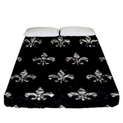 Royal1 Black Marble & Silver Foil Fitted Sheet (king Size) by trendistuff