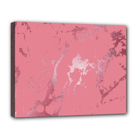 Luxurious Pink Marble Canvas 14  X 11  by tarastyle