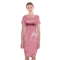 Luxurious Pink Marble Classic Short Sleeve Midi Dress by tarastyle