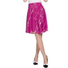 Luxurious Pink Marble A Line Skirt by tarastyle