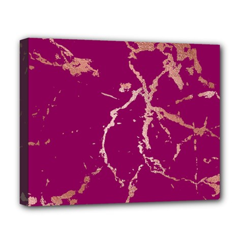 Luxurious Pink Marble Deluxe Canvas 20  X 16   by tarastyle