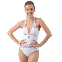 Normal Halter Cut Out One Piece Swimsuit