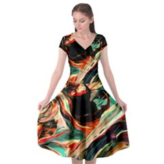 Abstract Acryl Art Cap Sleeve Wrap Front Dress by tarastyle