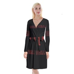 Normal Long Sleeve Velvet Front Wrap Dress