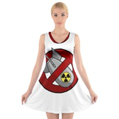No Nuclear Weapons V Neck Sleeveless Skater Dress