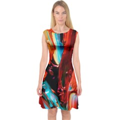 Abstract Acryl Art Capsleeve Midi Dress by tarastyle