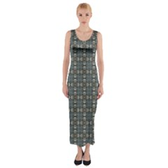 Earth Tiles Fitted Maxi Dress by KirstenStar