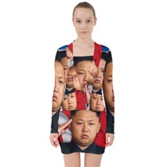 Kim Jong Un V Neck Bodycon Long Sleeve Dress