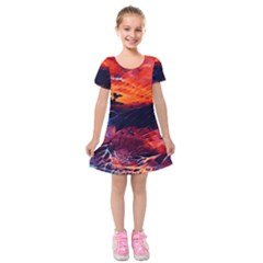 Abstract Acryl Art Kids  Short Sleeve Velvet Dress by tarastyle