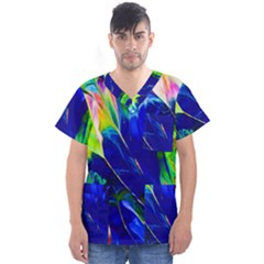 Abstract Acryl Art Men s V Neck Scrub Top by tarastyle