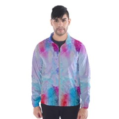 Pink And Purple Galaxy Watercolor Background  Wind Breaker (men) by paulaoliveiradesign