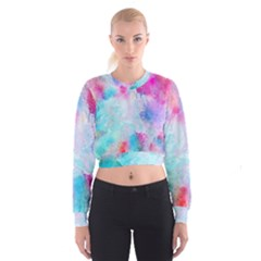 Pink And Purple Galaxy Watercolor Background  Cropped Sweatshirt by paulaoliveiradesign