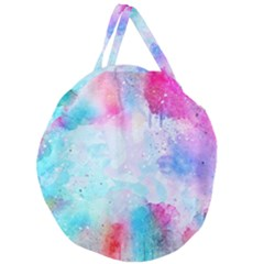 Pink And Purple Galaxy Watercolor Background  Giant Round Zipper Tote by paulaoliveiradesign