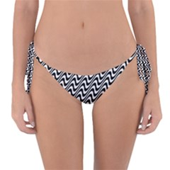 Black And White Waves Illusion Pattern Reversible Bikini Bottom by paulaoliveiradesign