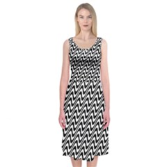 Black And White Waves Illusion Pattern Midi Sleeveless Dress by paulaoliveiradesign