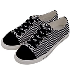 Black And White Waves Illusion Pattern Men s Low Top Canvas Sneakers by paulaoliveiradesign