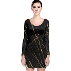Black Marble Long Sleeve Velvet Bodycon Dress by 8fugoso