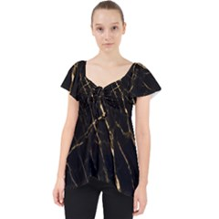 Black Marble Lace Front Dolly Top by 8fugoso