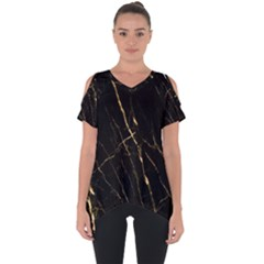 Black Marble Cut Out Side Drop Tee by 8fugoso