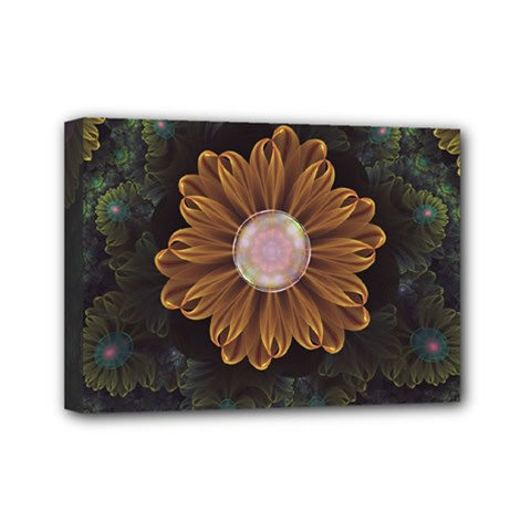 Abloom In Autumn Leaves With Faded Fractal Flowers Mini Canvas 7  X 5
