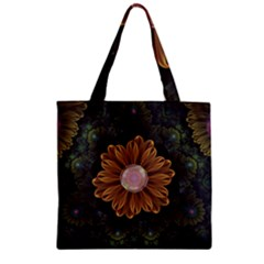 Abloom In Autumn Leaves With Faded Fractal Flowers Zipper Grocery Tote Bag by jayaprime
