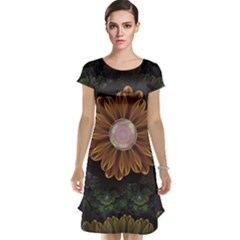 Abloom In Autumn Leaves With Faded Fractal Flowers Cap Sleeve Nightdress by jayaprime