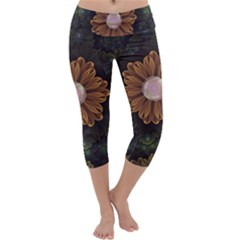 Abloom In Autumn Leaves With Faded Fractal Flowers Capri Yoga Leggings by jayaprime