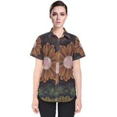 Abloom In Autumn Leaves With Faded Fractal Flowers Women s Short Sleeve Shirt