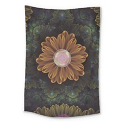 Abloom In Autumn Leaves With Faded Fractal Flowers Large Tapestry by jayaprime