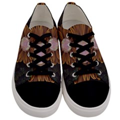 Abloom In Autumn Leaves With Faded Fractal Flowers Men s Low Top Canvas Sneakers
