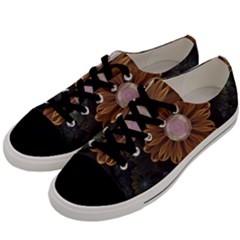 Abloom In Autumn Leaves With Faded Fractal Flowers Men s Low Top Canvas Sneakers by jayaprime