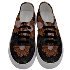 Abloom In Autumn Leaves With Faded Fractal Flowers Men s Classic Low Top Sneakers
