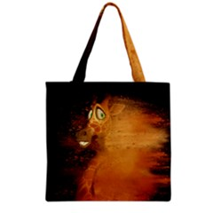 The Funny, Speed Giraffe Grocery Tote Bag by FantasyWorld7