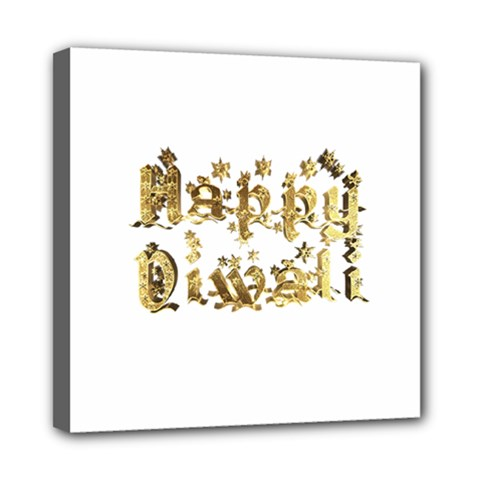 Happy Diwali Gold Golden Stars Star Festival Of Lights Deepavali Typography Mini Canvas 8  X 8  by yoursparklingshop