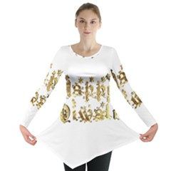 Happy Diwali Gold Golden Stars Star Festival Of Lights Deepavali Typography Long Sleeve Tunic  by yoursparklingshop
