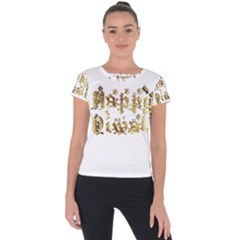 Happy Diwali Gold Golden Stars Star Festival Of Lights Deepavali Typography Short Sleeve Sports Top  by yoursparklingshop